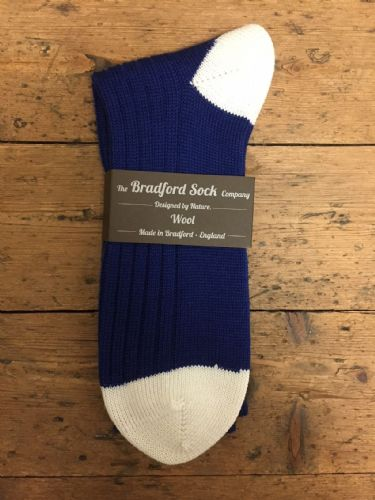 Men's Wool Socks - Blue and White - Machine Washable.